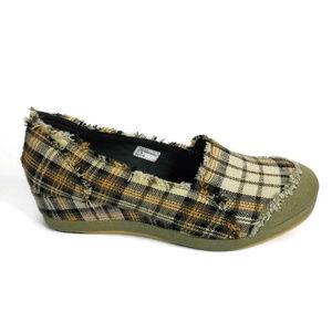 Volatile Plaid Platform Heel Slip On Sneakers